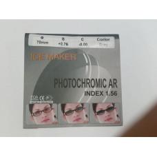 Линзы фотохромные PHOTOCHROMIC Ф70 индекс 1.56 (полимерное. EMI зелёный блик) коричневые +0.50.../+4.00