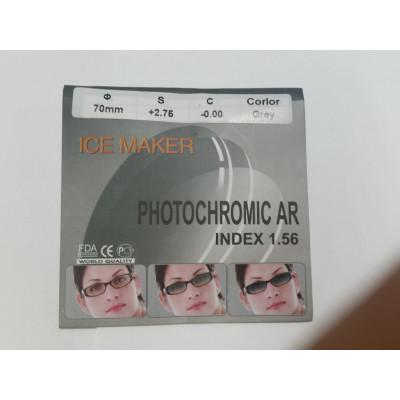 Линзы фотохромные PHOTOCHROMIC Ф70 индекс 1.56 (полимерное. EMI зелёный блик) коричневые -4.25.../-6.00